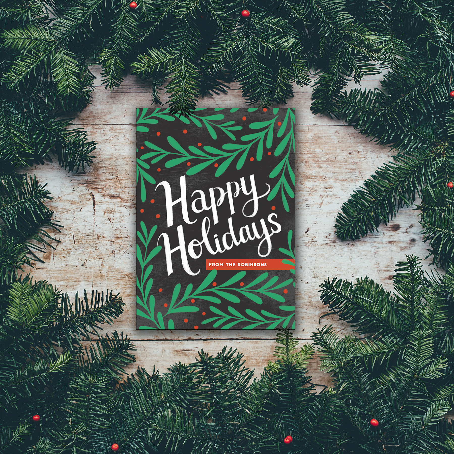 Happy Holidays custom lettering card for Minted.