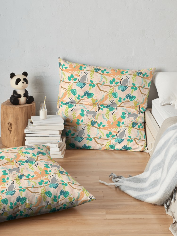 Peachy keen pallet of light orange and teal accents for a summery large cozy pillow