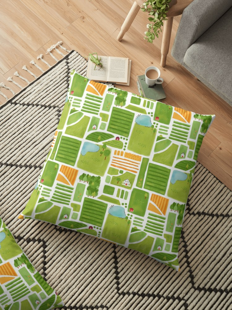 Countryside farm pattern pillow perfect for a nursery or kid's play room