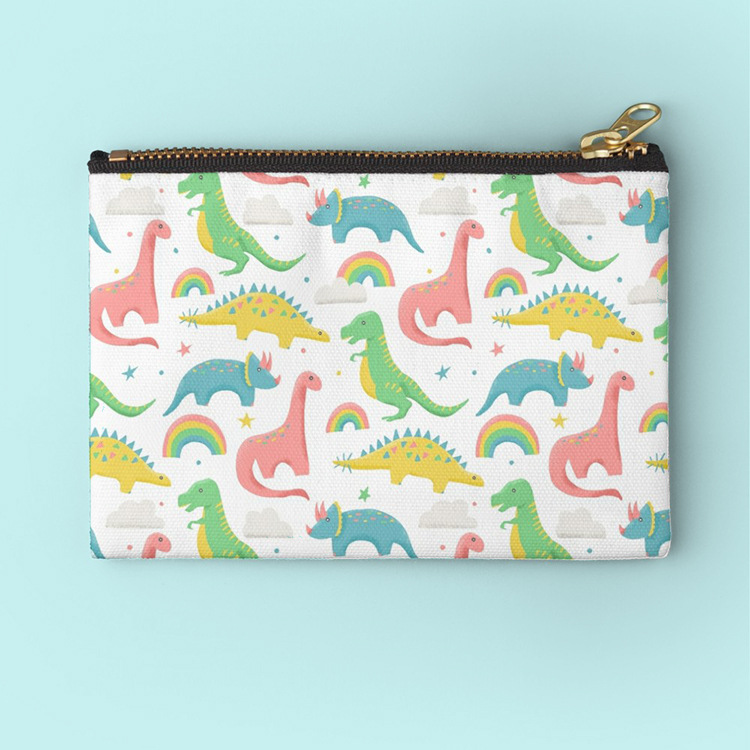 Mom friendly snack or art bag to take with you on the go, because your kids are always on the go and this has adorable dinosaurs and rainbows