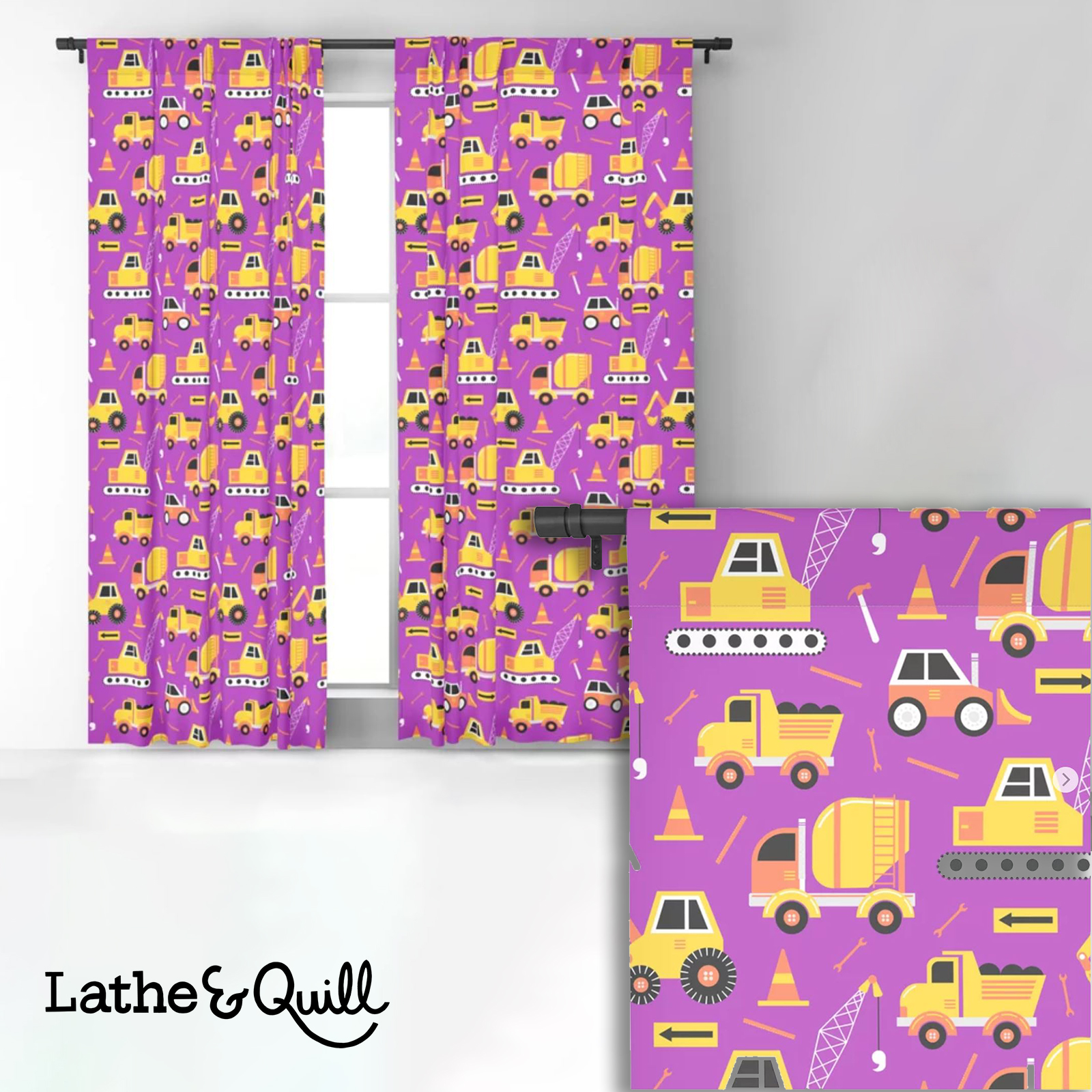 Truck pattern on purple is the perfect thing for the boy who loves purple and all things truck
