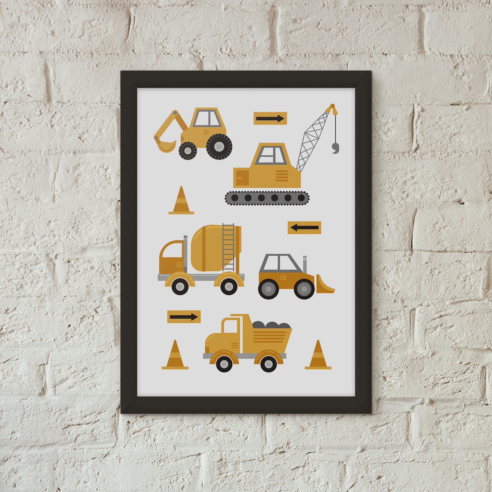 Poster of construction trucks perfect for your child that loves all things construction and tool related in yellow
