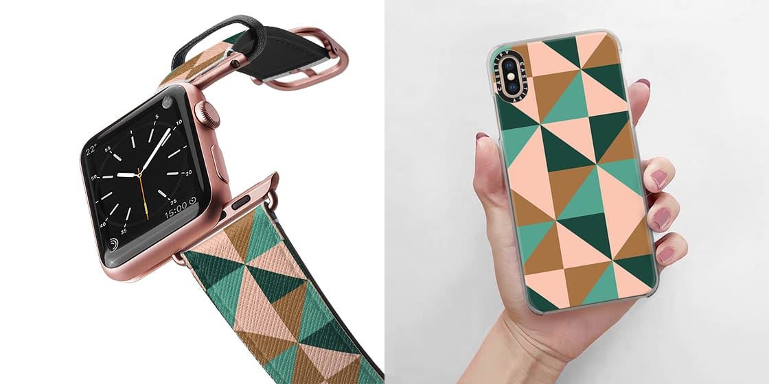 Cute matching cases for your iphone and apple watch in this colorblock styled pattern
