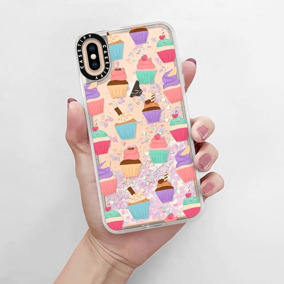 Glitter phone case is a really cute combination with my clear cupcake patterned iphone case