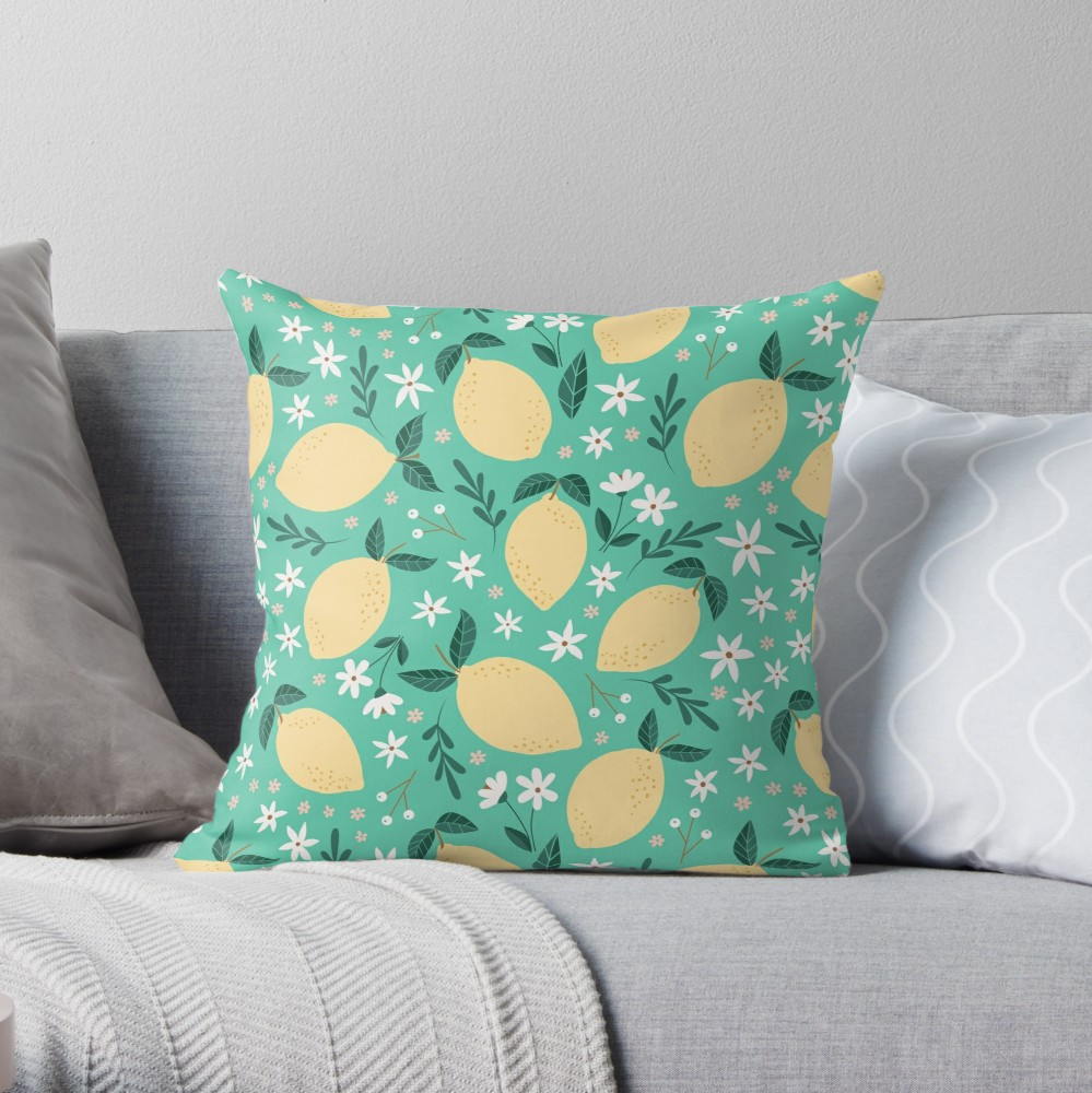 My most traditional pillow pattern of yellow lemons on mint with little white flowers