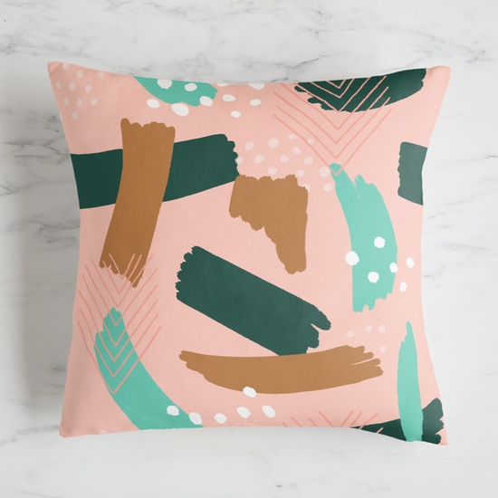 Perfect Color combination of teal, mint, gold, and blush pink pillow for feminine style in a loose and free way
