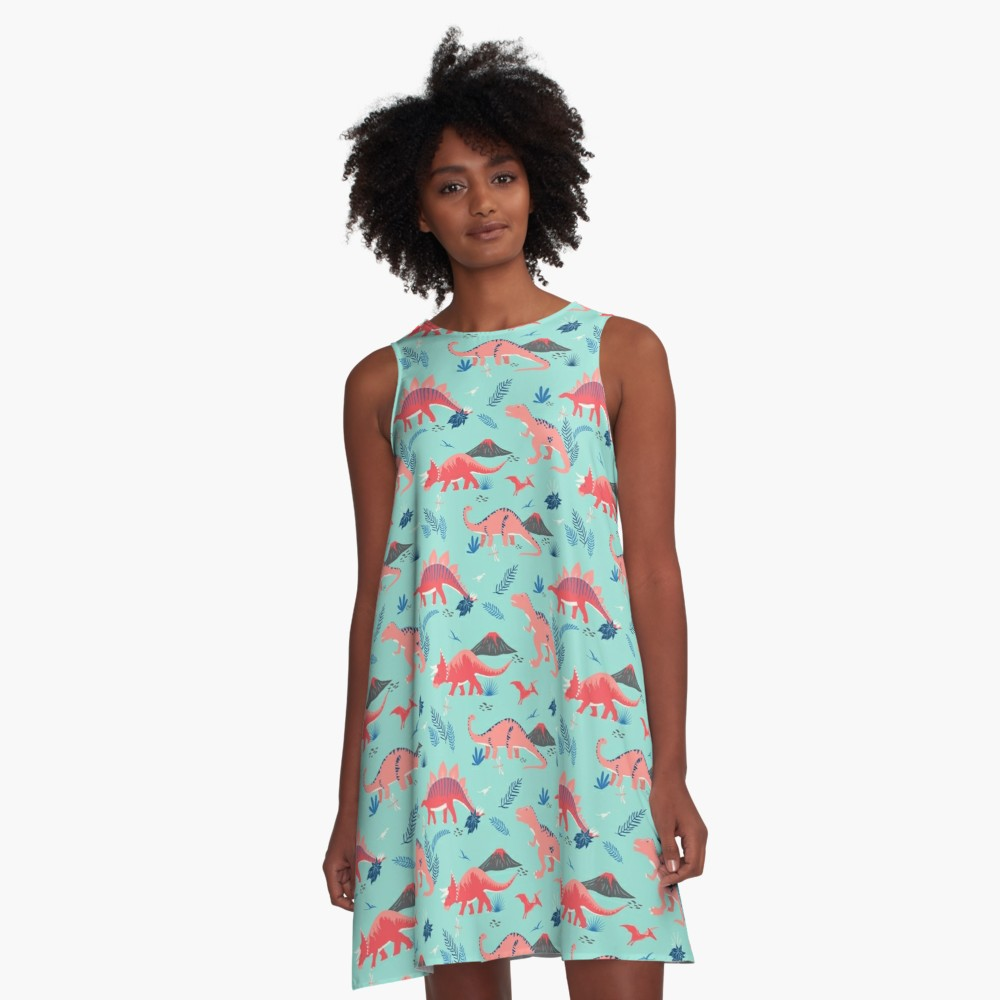 Are Dinosaurs your jam? This turquoise a-frame dress with pink dinos is a fun way to celebrate your cool style - change it up with belt, leggings, and / or cool boots