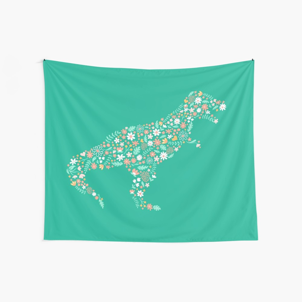 Teal Silhouette Dinosaur Wall tapestry would be cool for a dorm room or tween's bedroom who loves dinosaurs and flowers