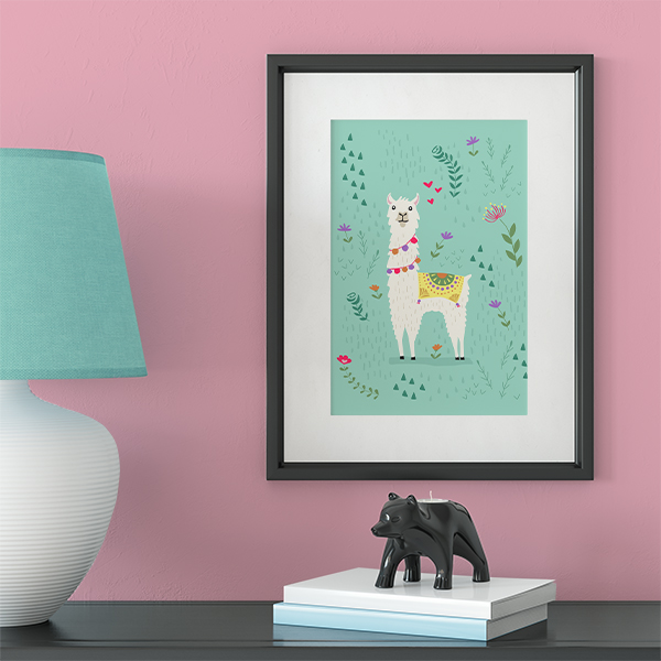 Surround kids with art throughout their lives to promote creativity and internal thought. Adorable frame festive llama art print from Society6 in a turquoise aqua blue
