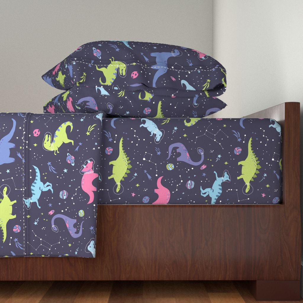 Lovely sateen bedding from spoonflower is a new addition to my shop with bright colored dinosaurs perfect for a girl or boys bedroom who loves space and dino astronaut.