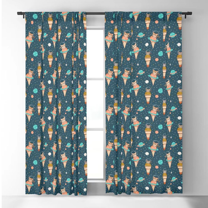 Space Cat Blackout Curtains help keep the kiddos sleeping in on the weekends and go to bed on time during the week by using these light dampening shades that keep the sun out when you don't want it