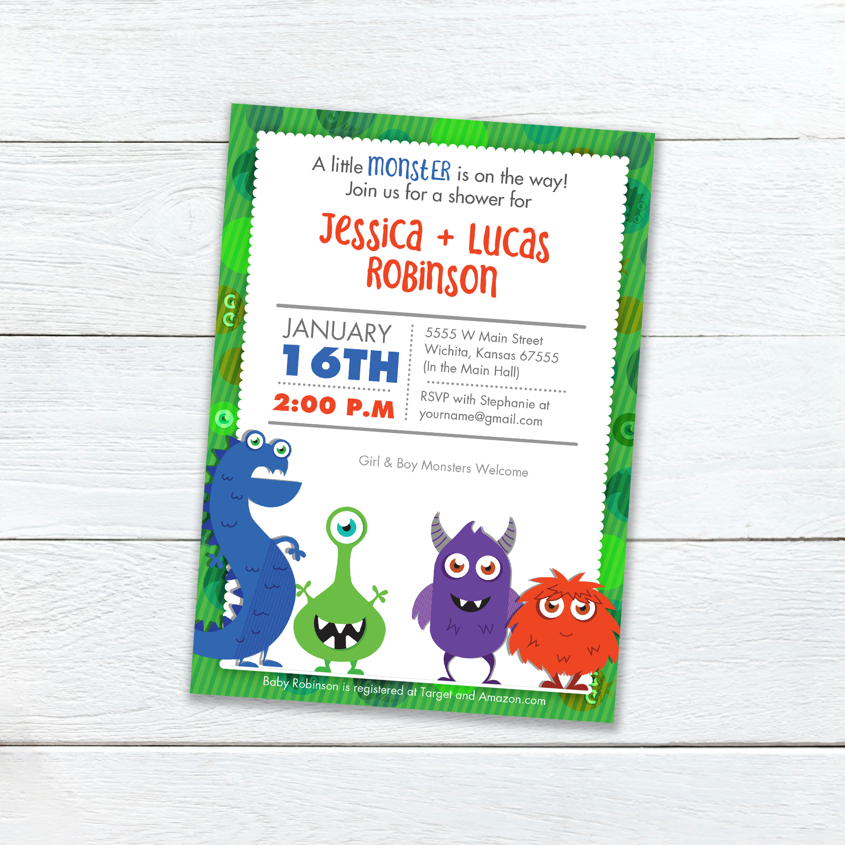 Do you want a baby shower that is just a little more fun - this monster themed shower card is a great boy or gender neutral way to celebrate your new monster's arrival