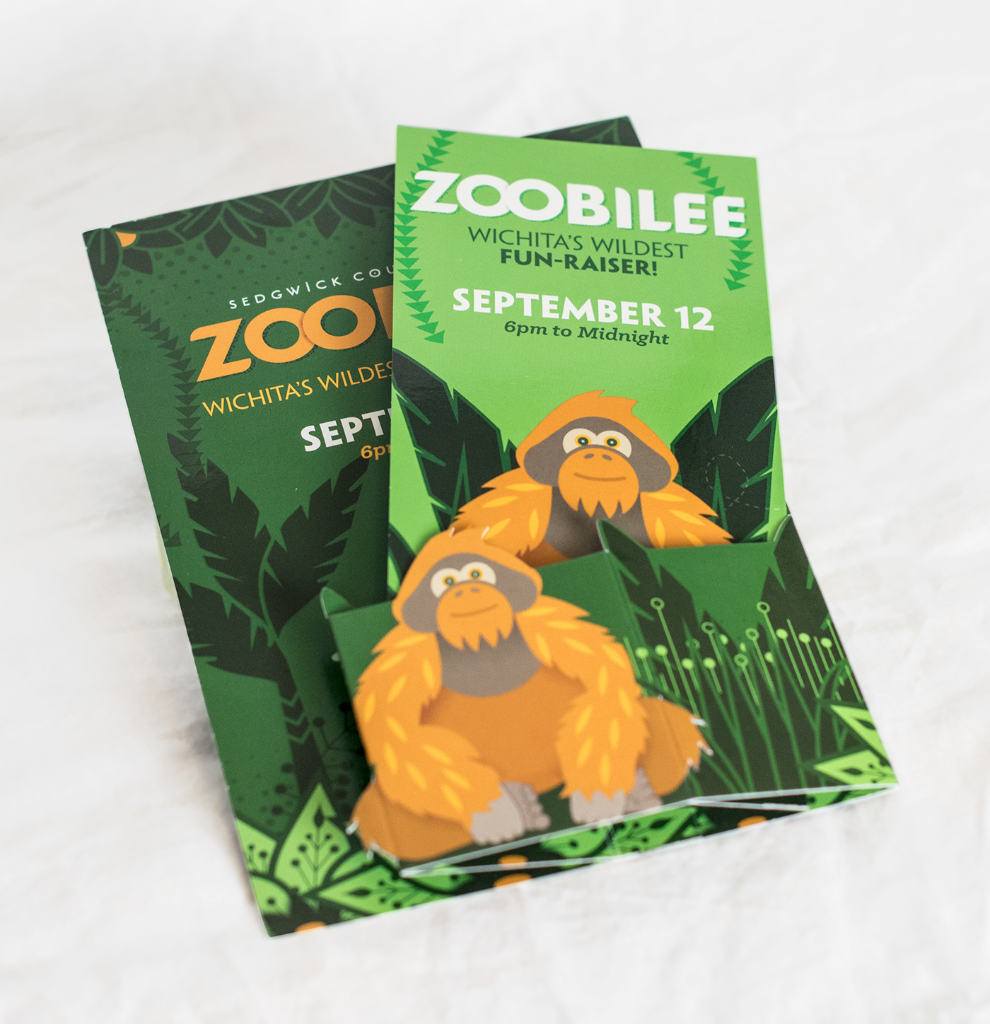 Popup invitation card of zoobilee for the Sedgwick County Zoo