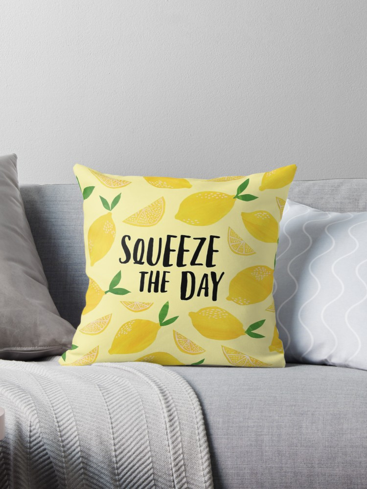 Squeeze the Day pillow great yellow decoration for a living room or dorm room to motivate you and give you a little chuckle each day