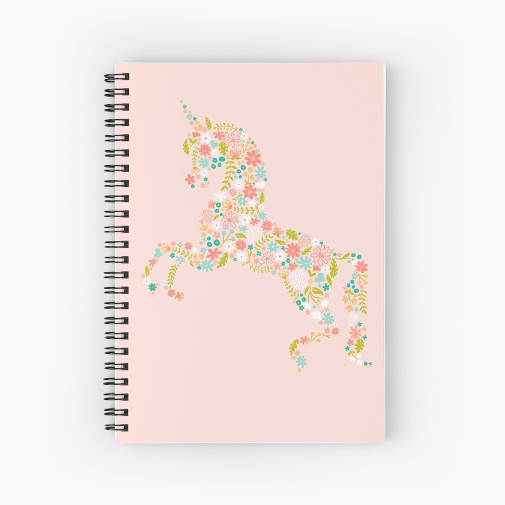 Pink Floral notebooks with a unicorn. If unicorns are your spirit animal then this notebook is the best way to start of the new school year. You are bound to actually bring your notebook to class if it is cute and want to show it off. Or use this as a journal