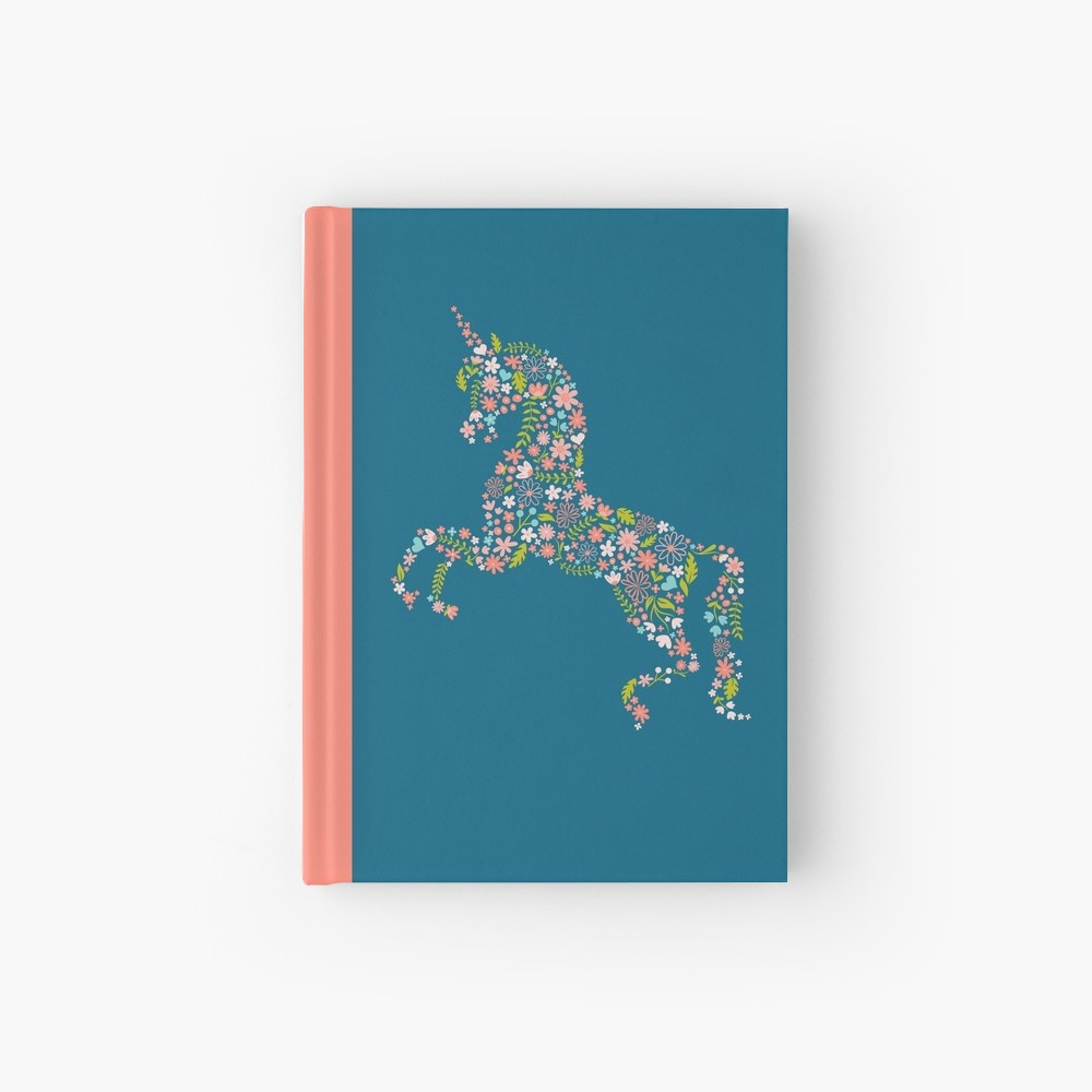A fun diary or journal for a unicorn loving girl at heat. Very sweet silhouette filled with lots of pink and coral florals on a blue background.