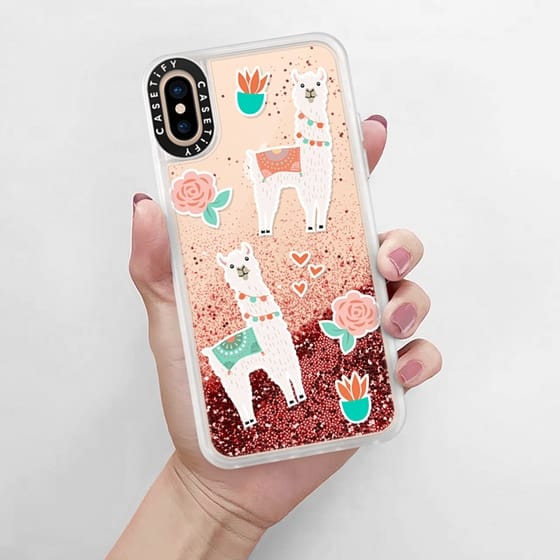 Pink Glitter Waterfall on my llama sticker phone case. So fun!