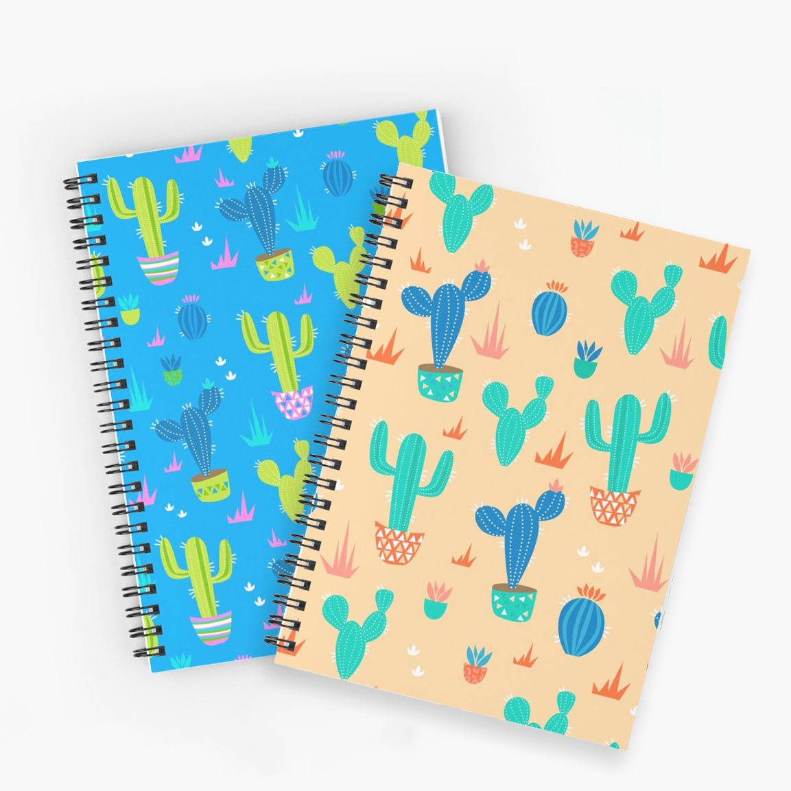 Cactus Notebook in 3 different color schemes in bright neon and blush pink and gold. Notebooks are the perfect thing for the new school year. Make notes, sketch, journal, keep on track to succeed this year.