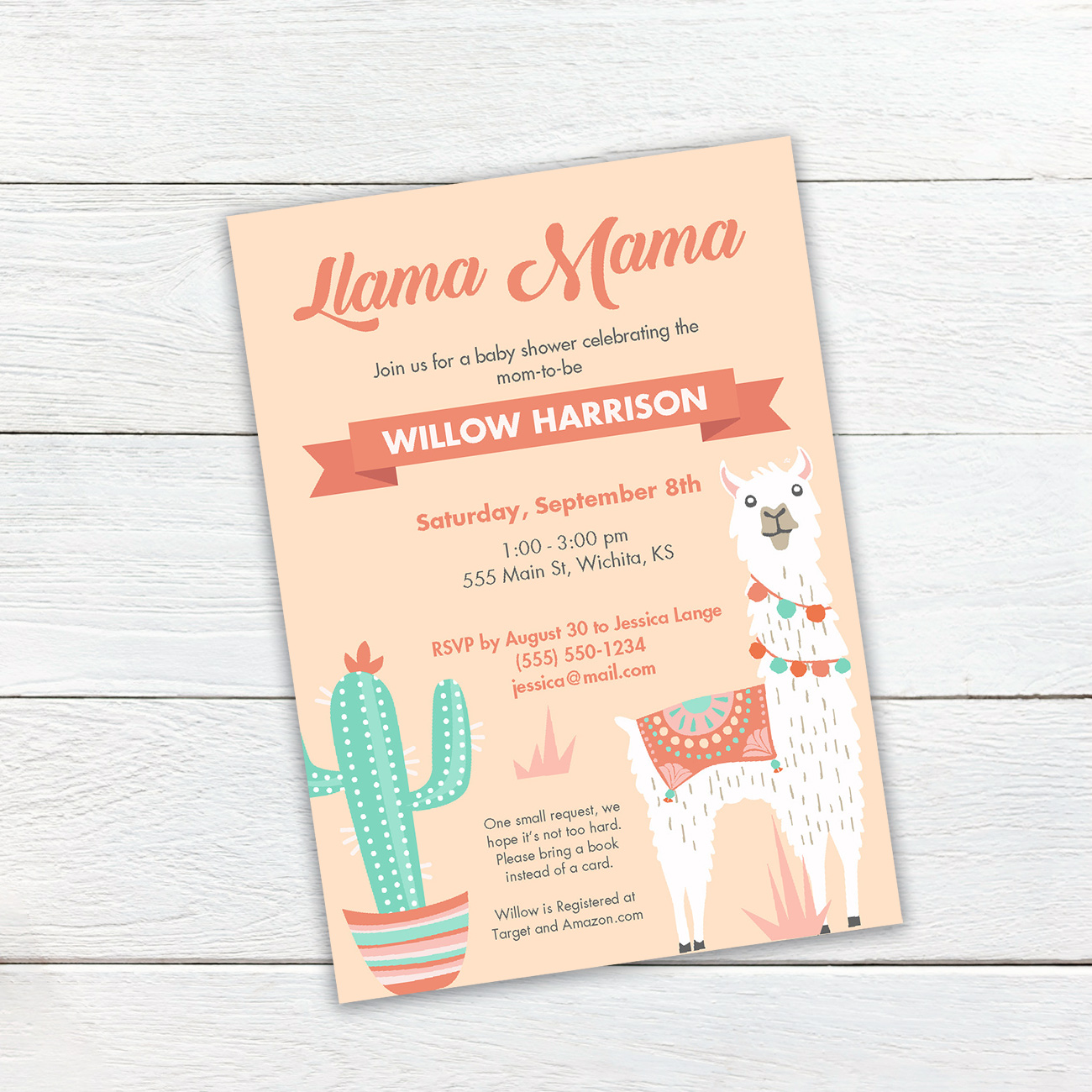 Celebrate the mom to be in mama llama style and a little cactus to boot