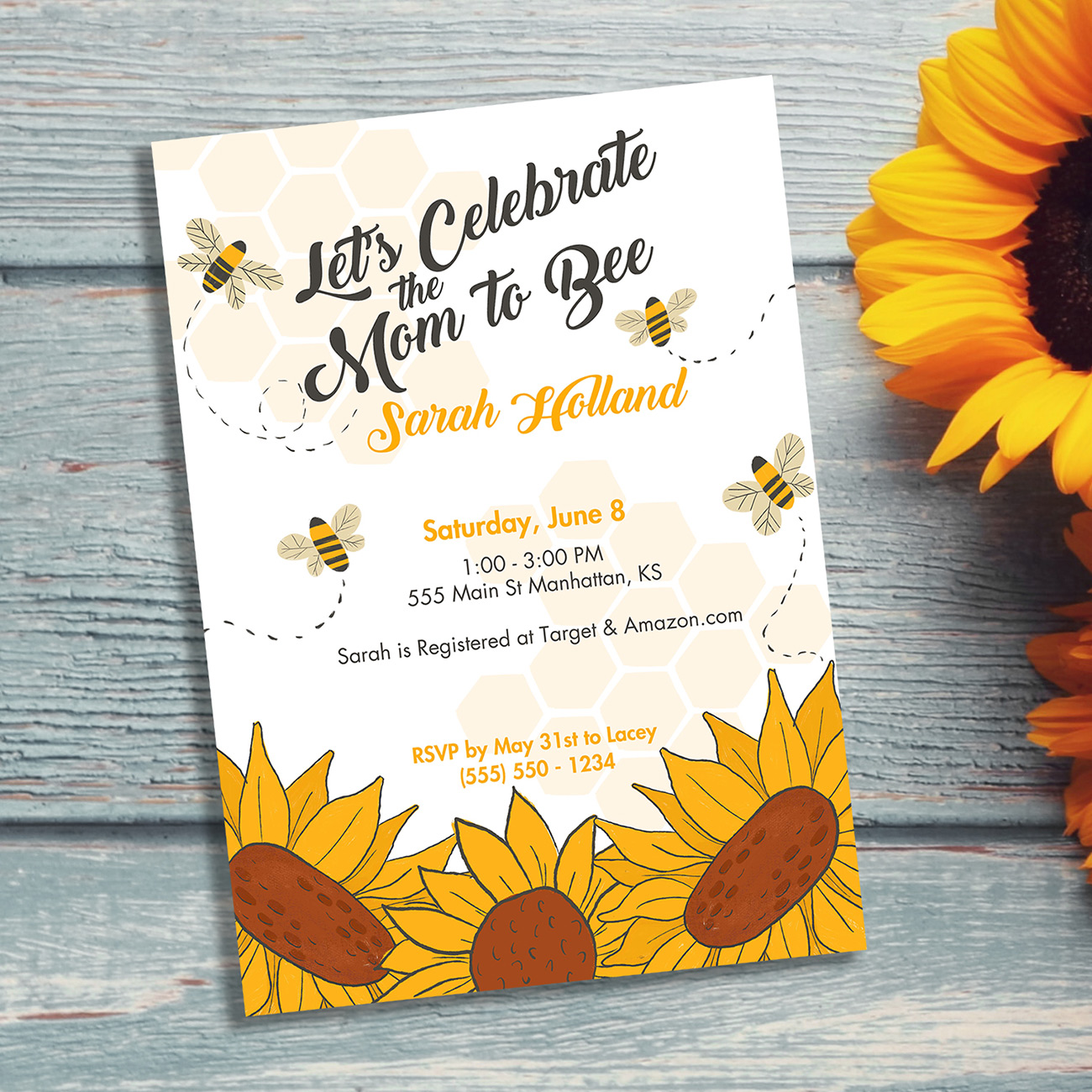 Let's Celebrat ethe Mom to Bee with this honey bee themed shower invitation.