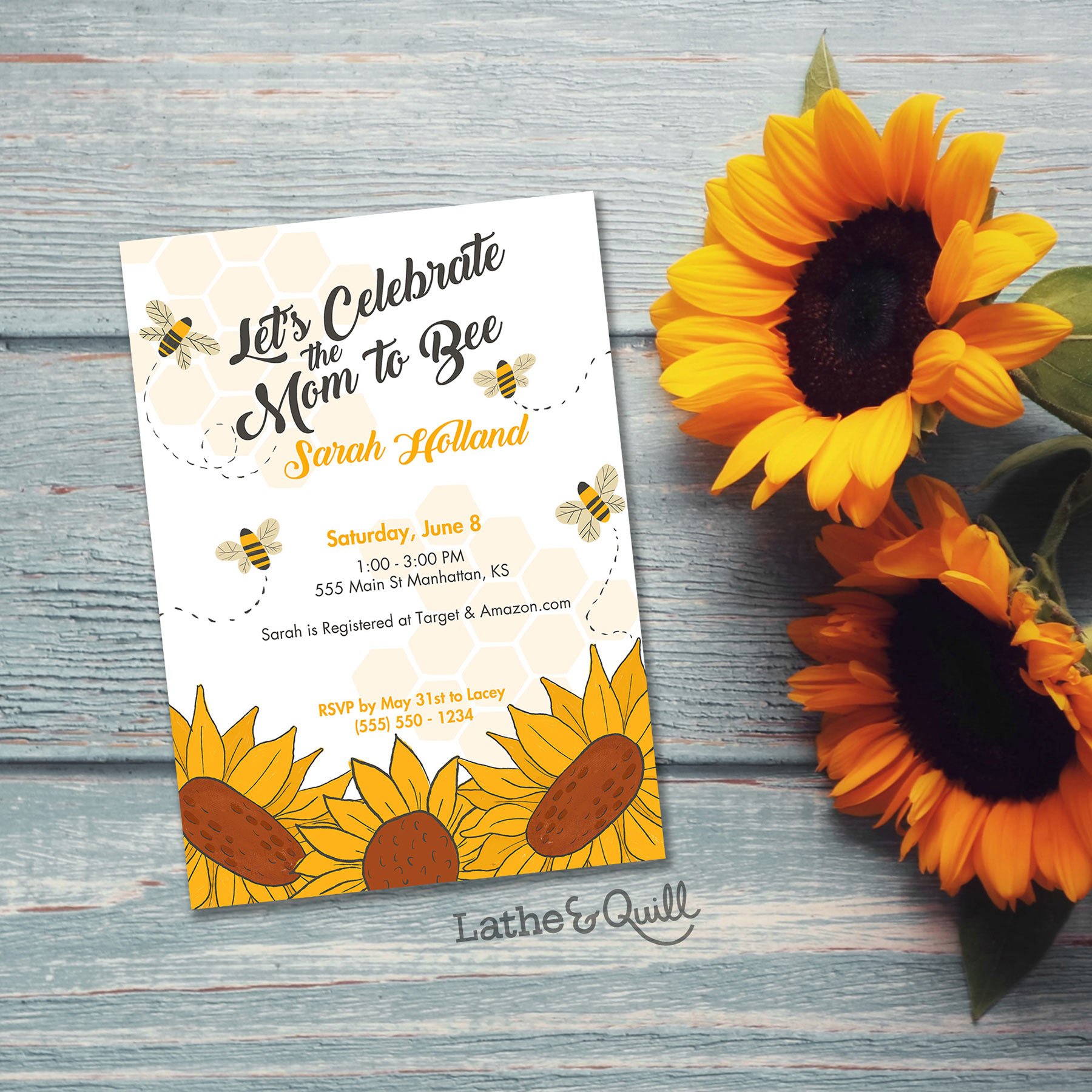 Celebrate the Mom to Bee with this sweet honey bee themed baby shower invitation. Inspired by my Kansas roots.