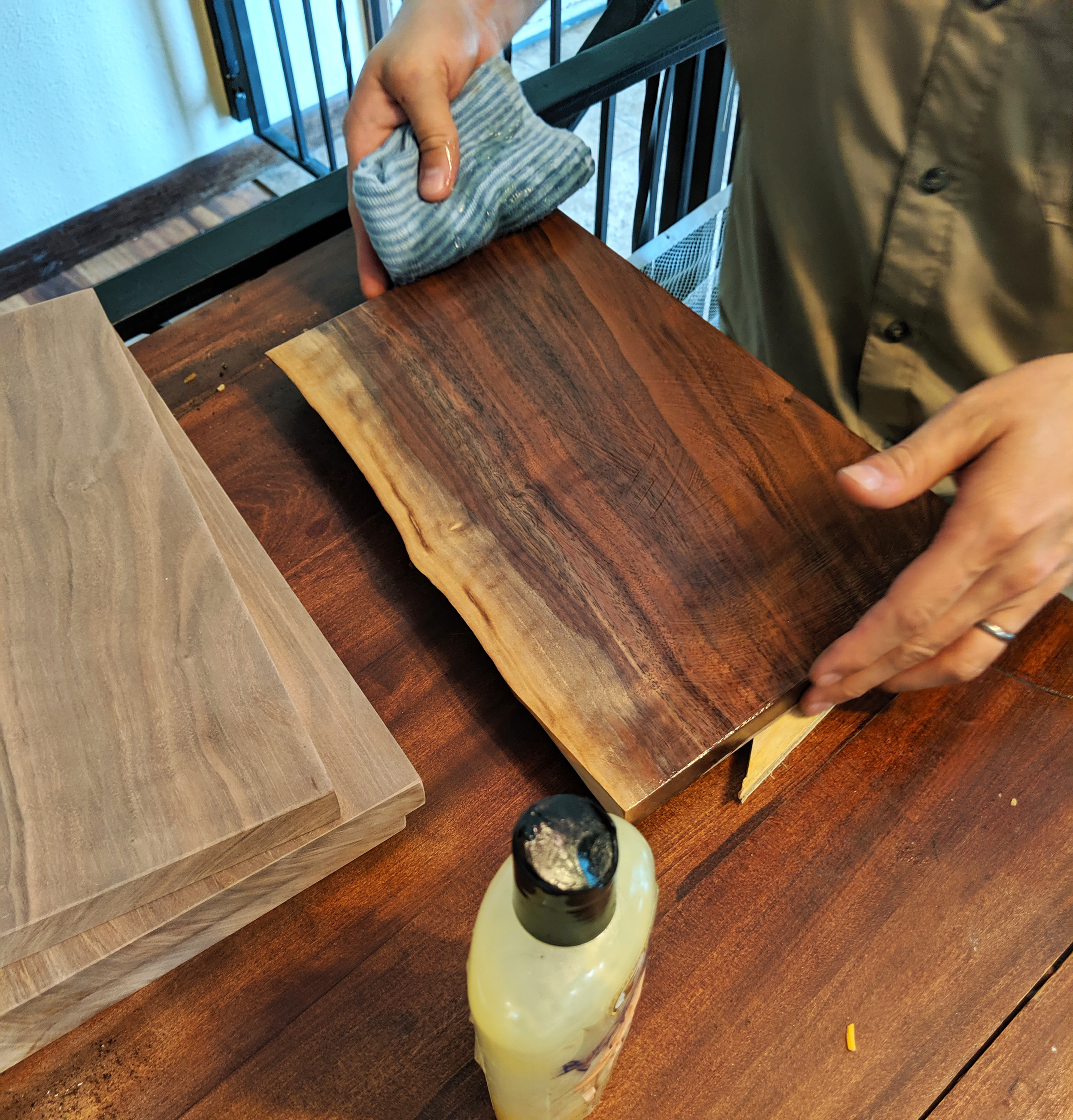 Live Edge Black Walnut Chacuterie board for the perfect wine and cheese night