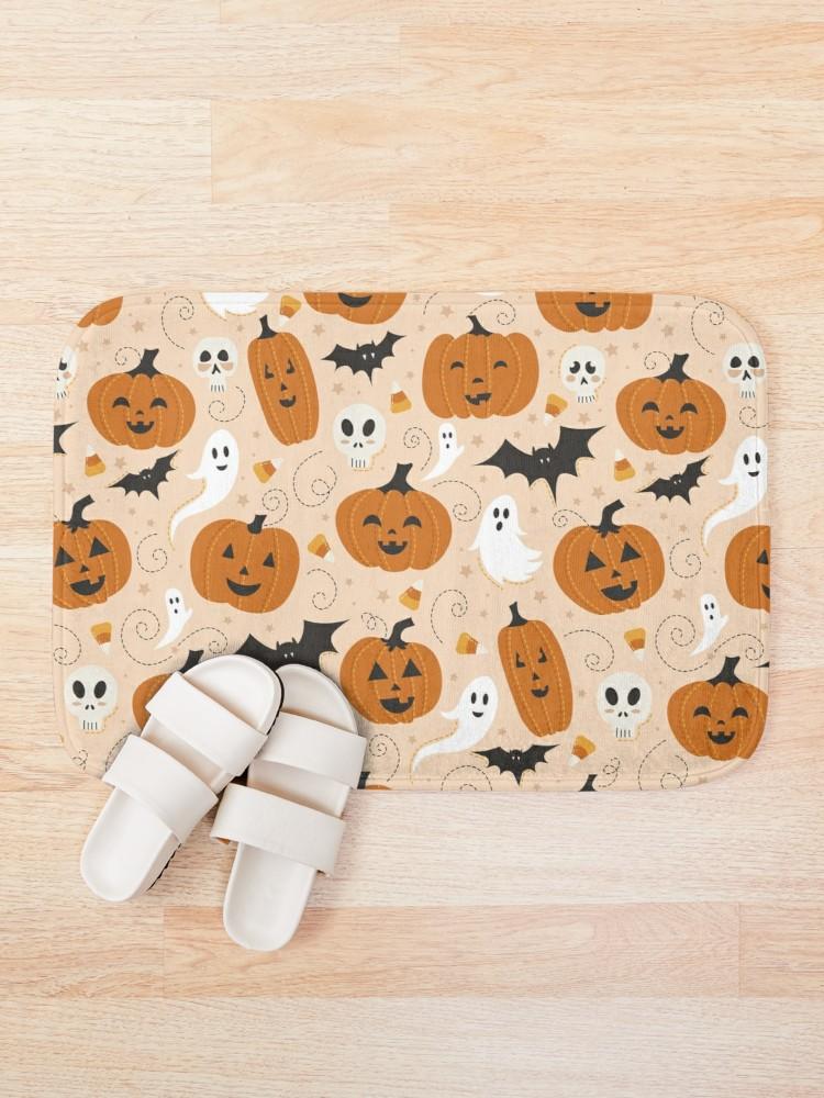 Celebrate halloween all year around with this jack o lantern bath mat