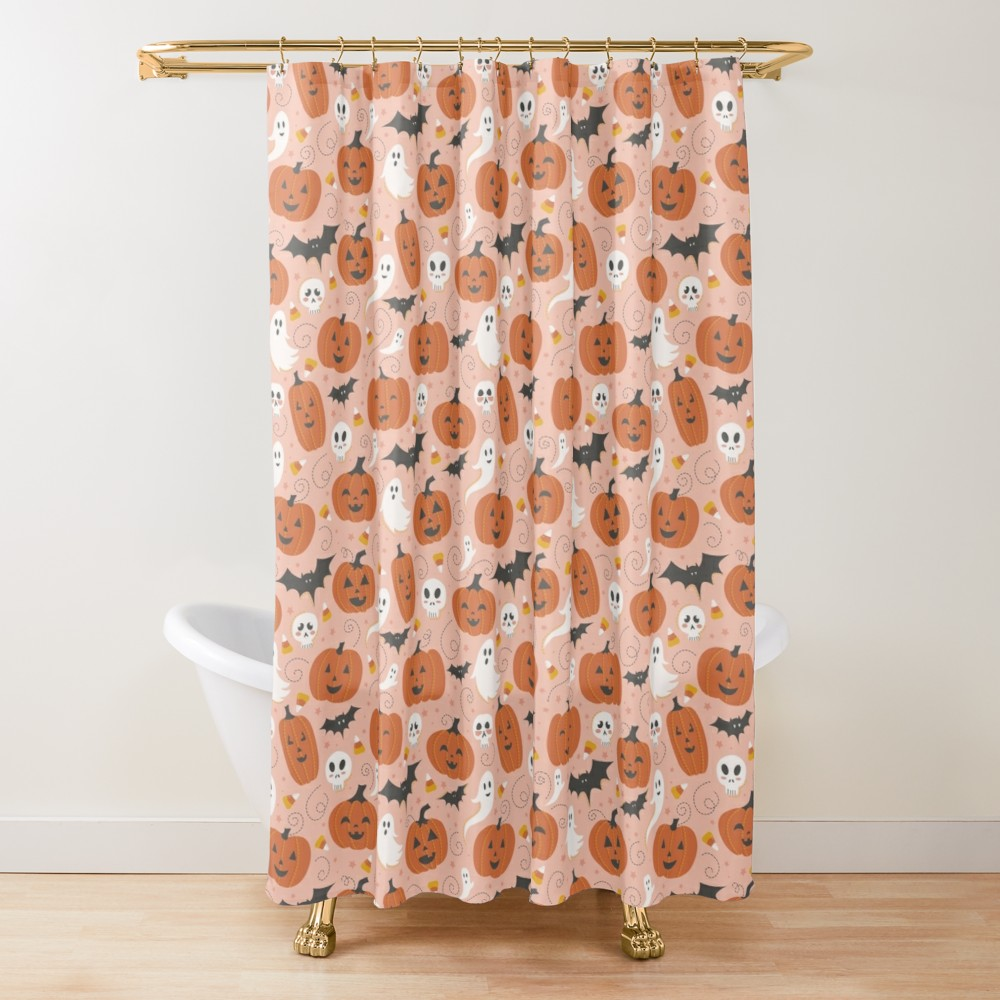 Holiday shower curtain on blush pink with jack o lantern and ghosts