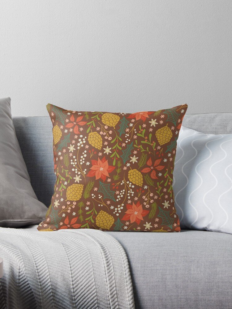 My winter floral pattern on brown - great for a warm and cozy feel near the fireplace. Pillow covers are the perfect way to add style without too much extra storage. Just slip them off and put them away for next year.