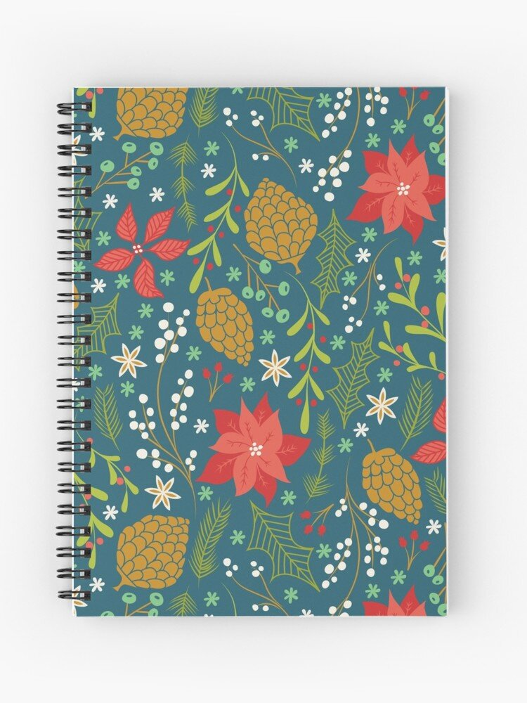 Winter Floral themed spiral notebook - the best for writing letters to Santa