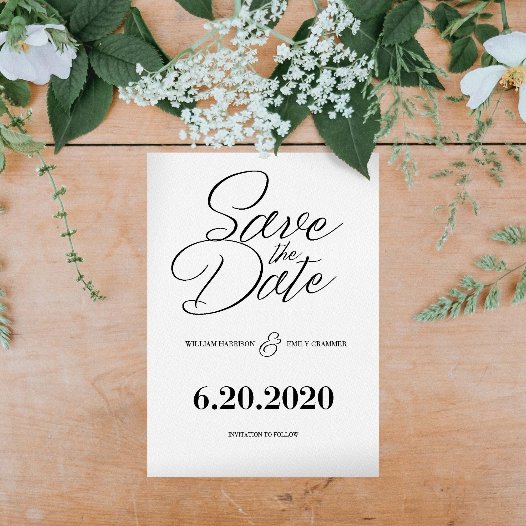 Minimalist Save the Date Card for envelopes or make into a postcard to send to prospective guests so they can keep your important wedding event saved in their calendar