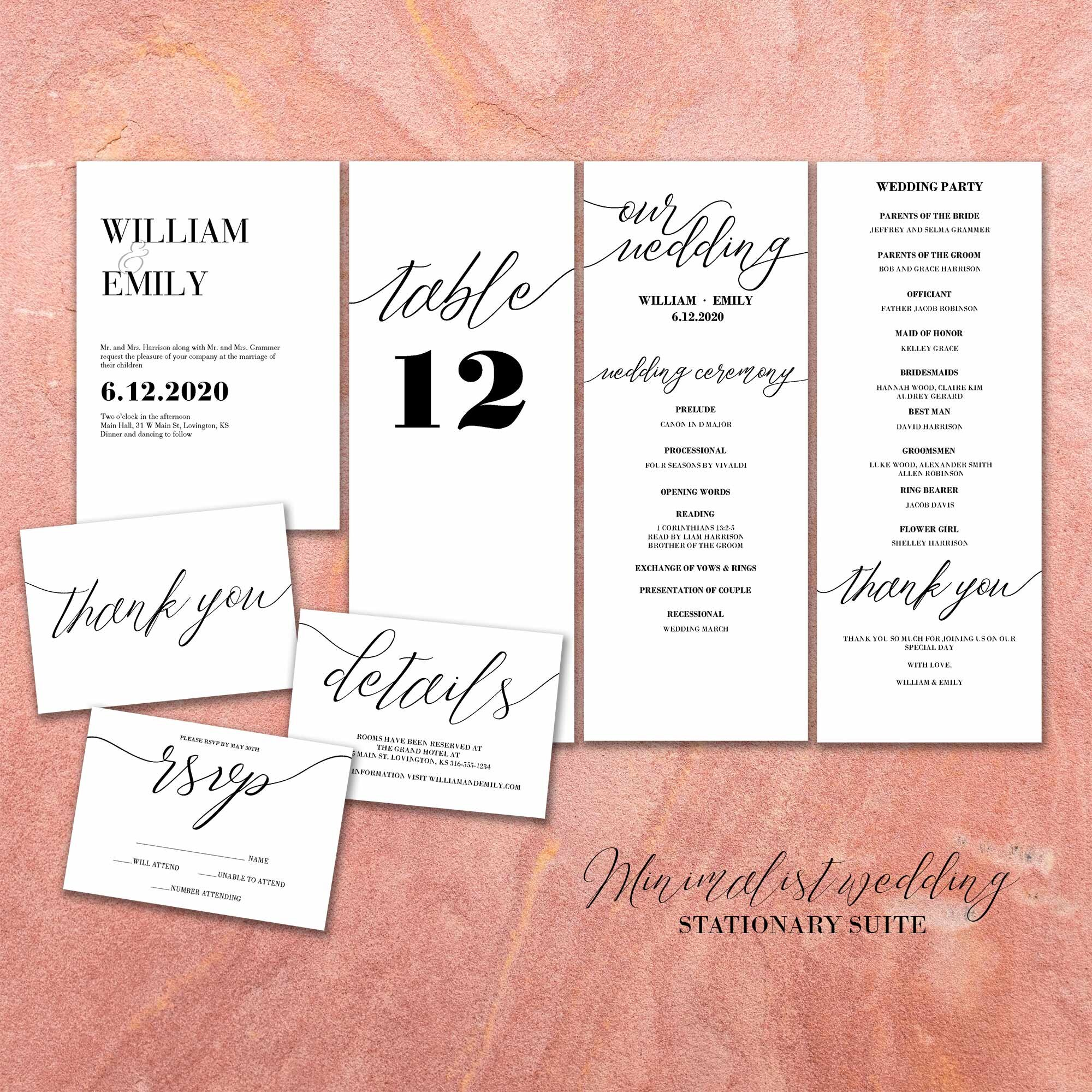 Continue your minimalist design from the Save the Date to this stationary Suite for Weddings including the all important invitation, thank you cards, rsvp insert, and extra details card for reigsteration and hotel information, table place card, and wedding program.