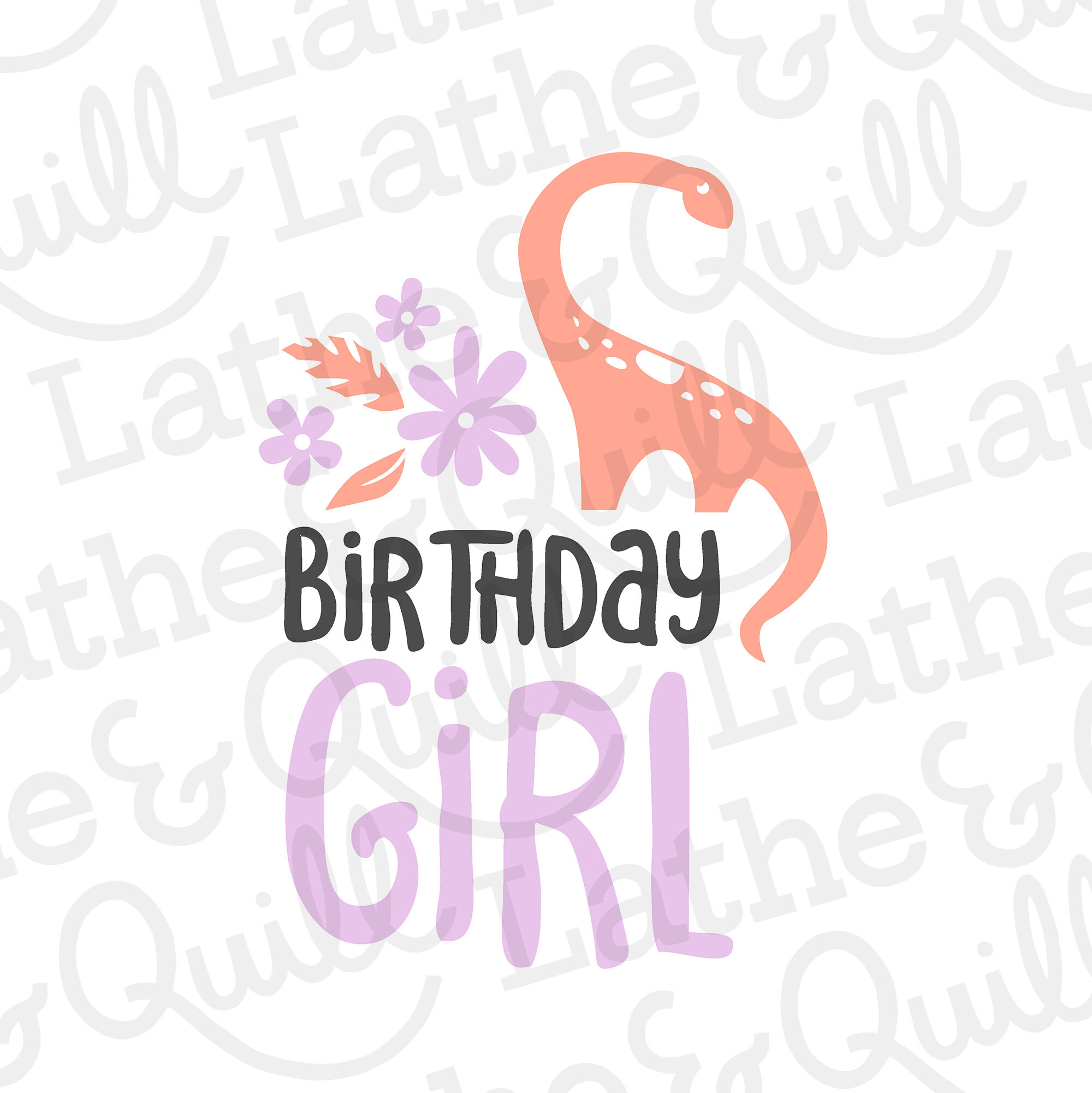 Celebrate the Birthday girl in style with her own custom t-shirt featuring our kawaii brontosaurus. Perfect for vinyl t-shirts or signage for your birthday party