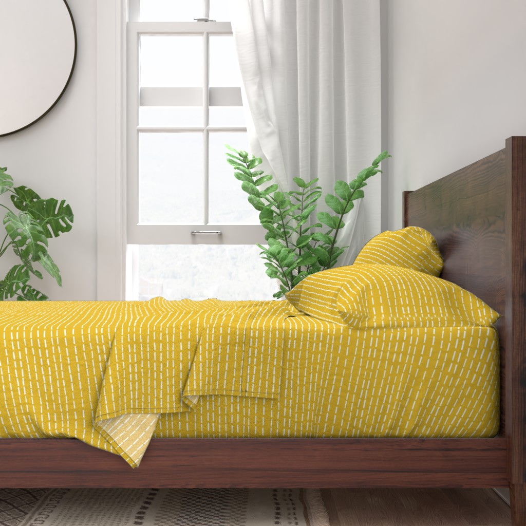 Mustard yellow sheet set with abstract dashed line pattern - fun accent to my car and traffic pattern or can stand alone as a bright yellow accent in any room