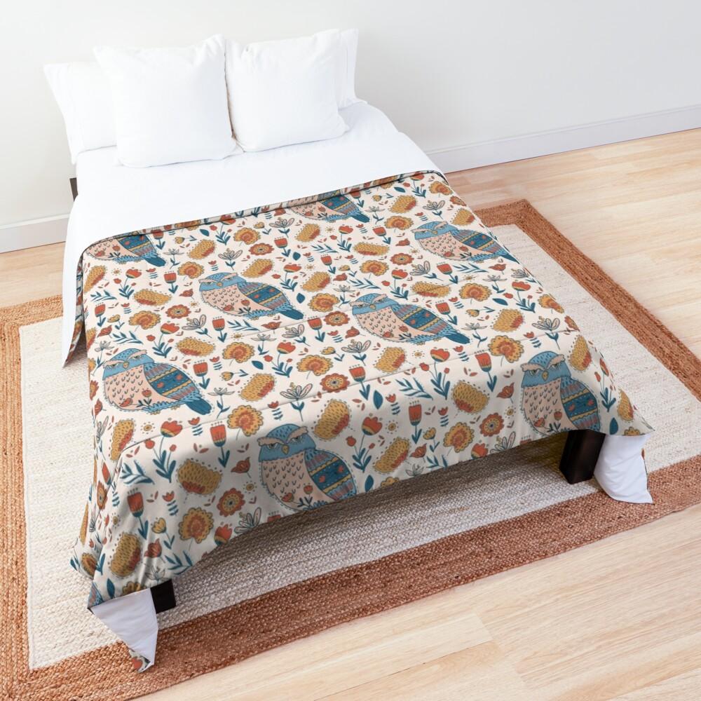Folk Art owl bedding as a comforter or duvet comforter