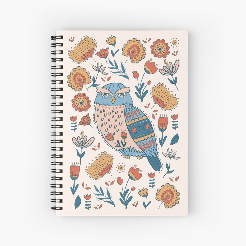 Folk Art spiral bound notebook for taking notes or sketching out your next great idea