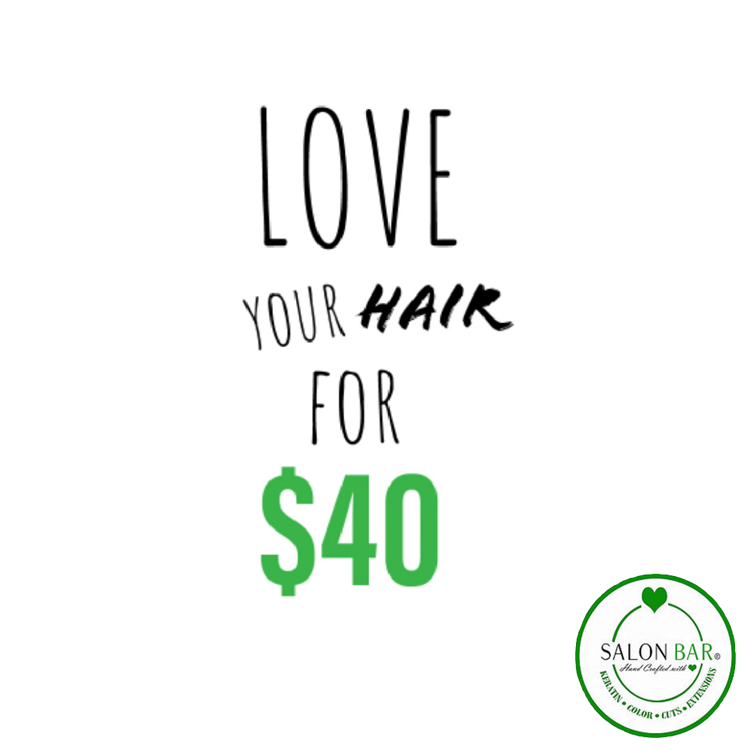 - Experience what Salon Bar has to offer. We are offering you a consultation, shampoo, haircut, and style! PLUS choose from a specialized conditioning treatment. All for $40! This is a saving of up to $55!! Offer valid for new clients only.Must mention at time of booking. There may be an additional charge for length & texture of hair. Stylist will confirm pricing during consultation before the service begins. Additional charge for flat iron/curling iron. Must show this coupon or page and present to stylist at time of consultation or not valid!