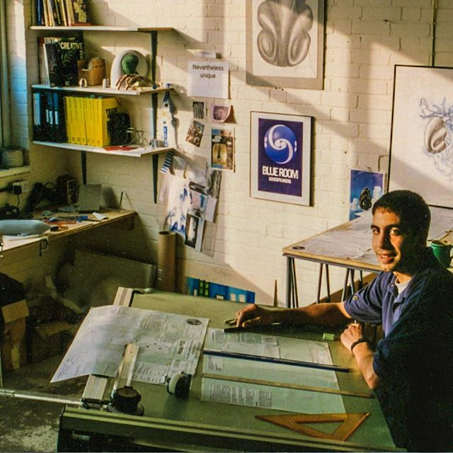 #throwback Early days at Blue Room when we integrated with B&W loudspeakers. I'm super young - 😆 back in 93 - Lot's of stuff going on in the photo. Soundtack was The Orb. I'm working on the first user manual for the Housepods (see attached). No computer, just photocopying, line drawings, films, cut & paste. We were just beginning regular production, which was downstairs in our building in the next image. On the work desk is a familiar shape for all Zepplin fans. In the background, on the walls are first sketches of the Pod shape, ID ideas including the image that inspired the Blue Room, which is sat directly behind me.  #hifi #scifi #pod #podsystem #design #designer #blueroom  #podspeakers #bowersandwilkins  #theorb