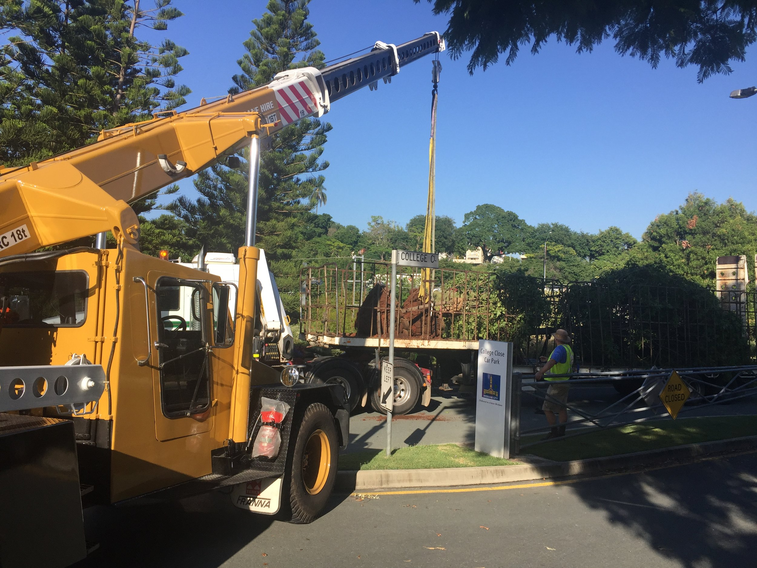 Relocation of a tree to Roma Street Parklands.