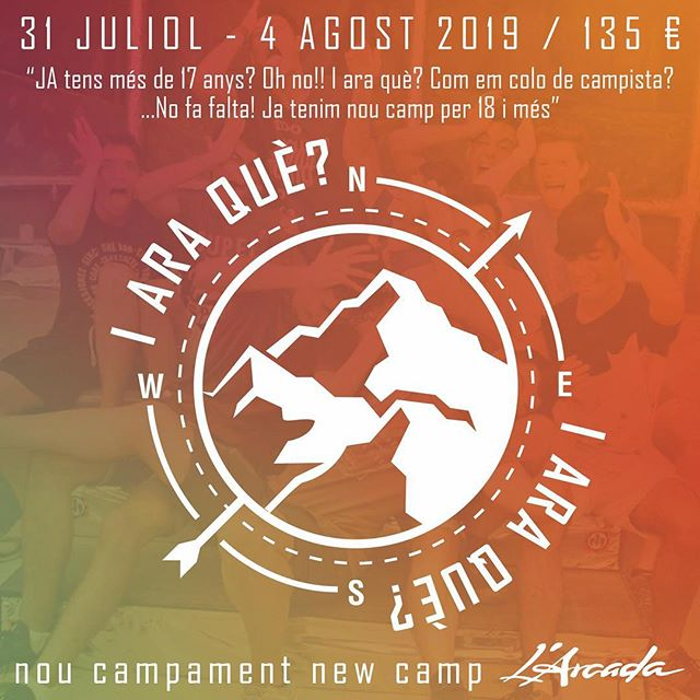 "NOU CAMPAMENT!!! CAMPA NUEVO!!! NEW CAMP!!! I ARA QUÈ? #iaraque #noucampament ""Ser campista no acaba a los 17... ahora puedes continuar siéndolo hasta los 99"" +info: www.larcada.com"