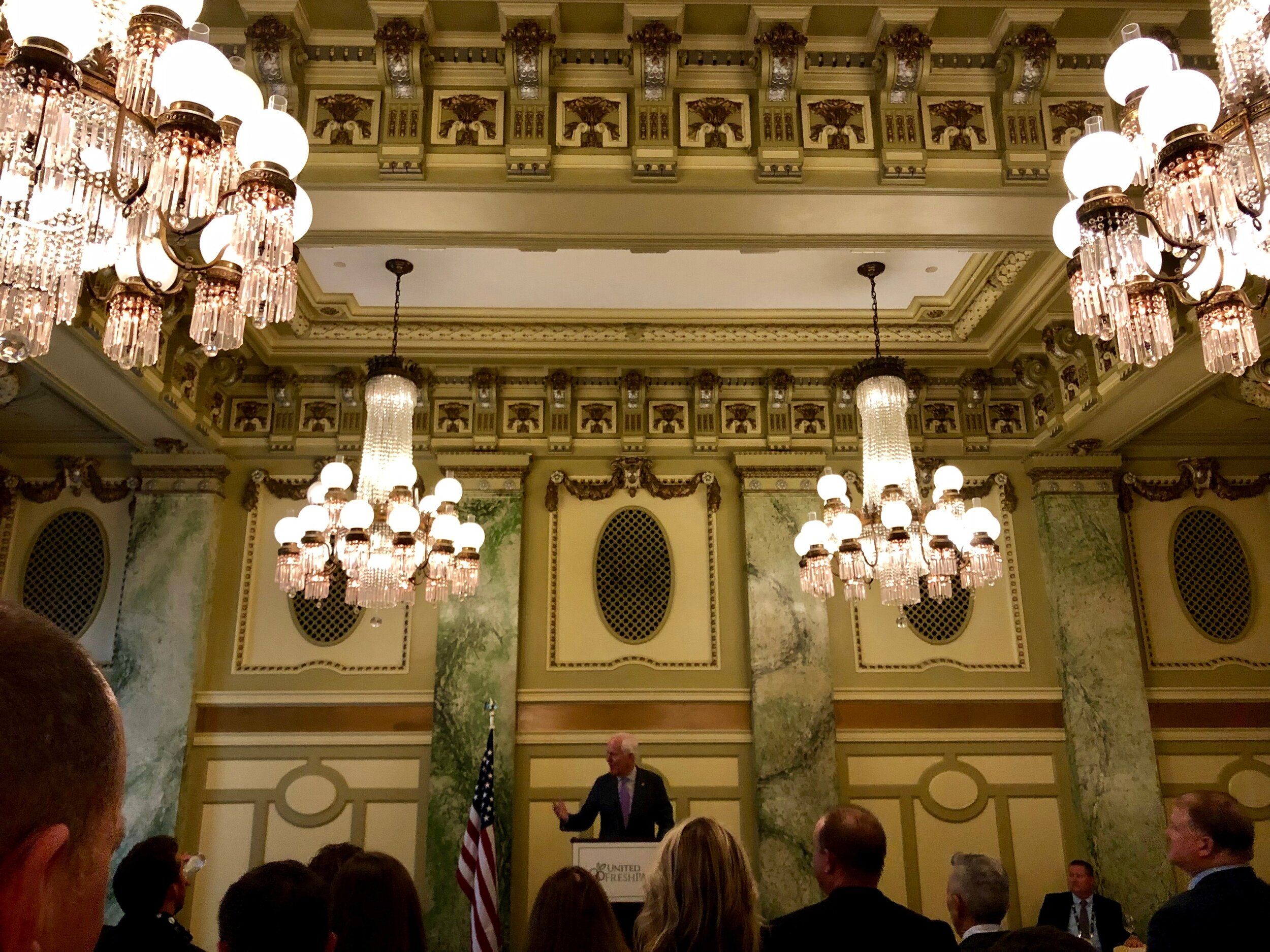 US Senator John Cornyn and Jimmy Panetta – a Representative of California, pictured speaking at the United FreshPAC dinner at the beautiful Willard Hotel
