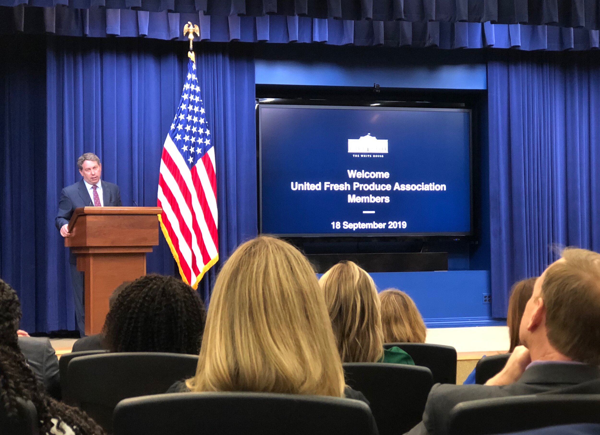 Chief Agricultural Negotiator, Greg Doud, pictured at The White House briefing