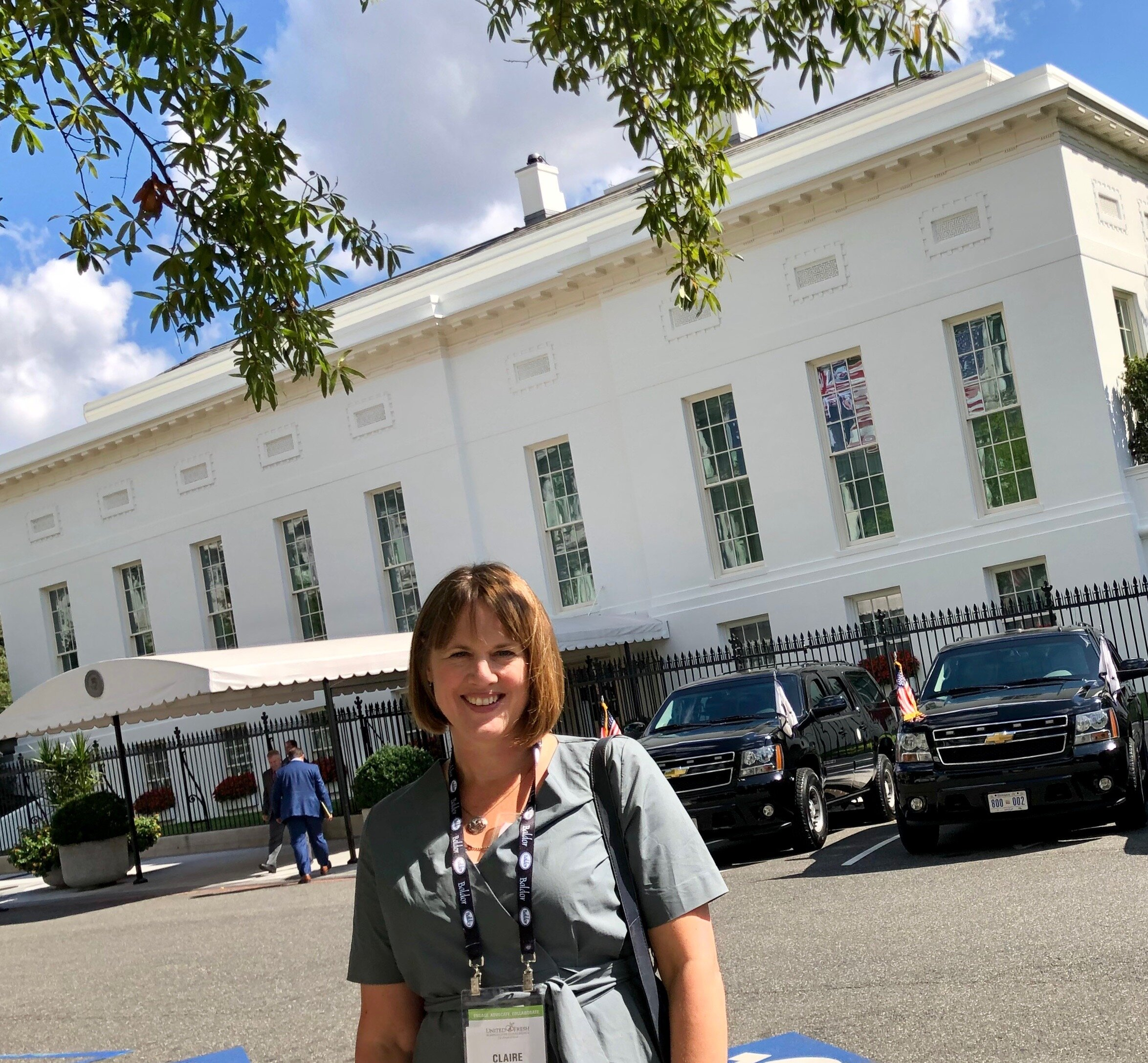 Claire pictured at the West Wing of The White House