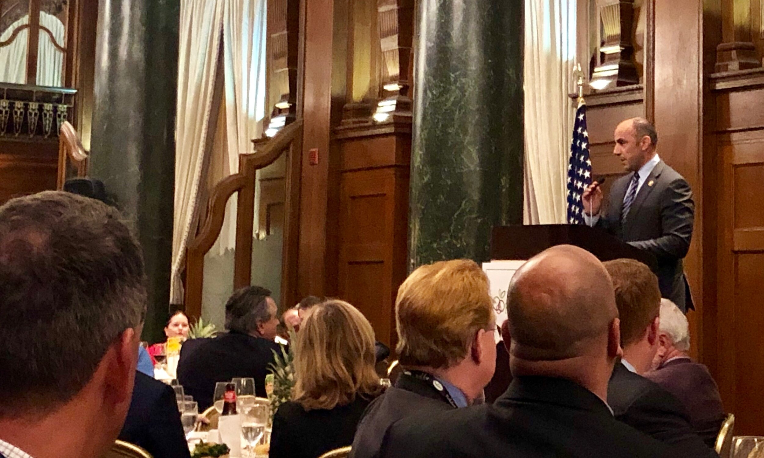 Jimmy Panetta, US Representative for California's 20th congressional district, speaking at the United FreshPAC dinner, at the Willard Hotel.