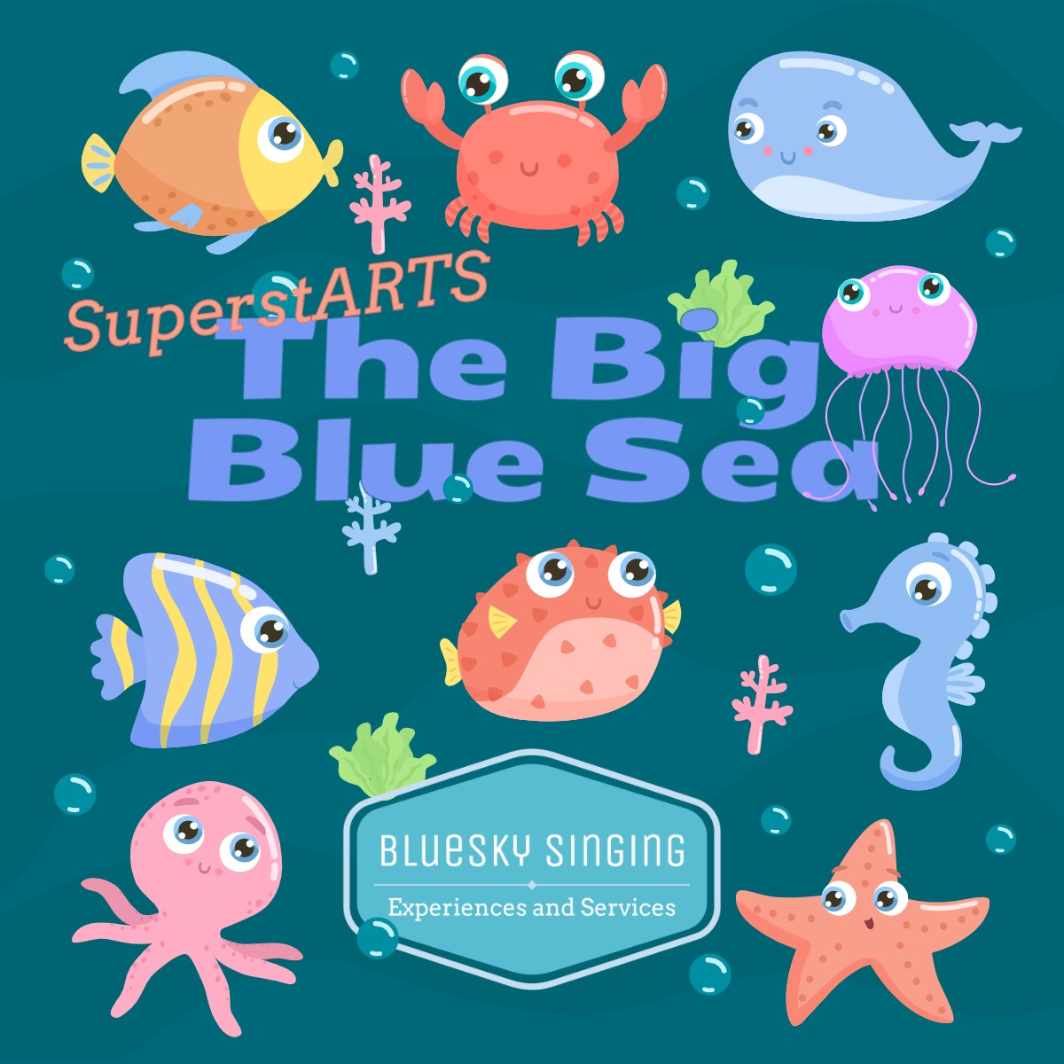 · For Infants: The Big Blue Sea is our current SuperstARTS topic which will have classes singing about the seaside, oceans, and all kinds sea creatures! Expect the imaginations of your 4-7 year olds to be whirring! Your EYFS & KS1 classes will each receive a singing workshop ahead of the Experience date.