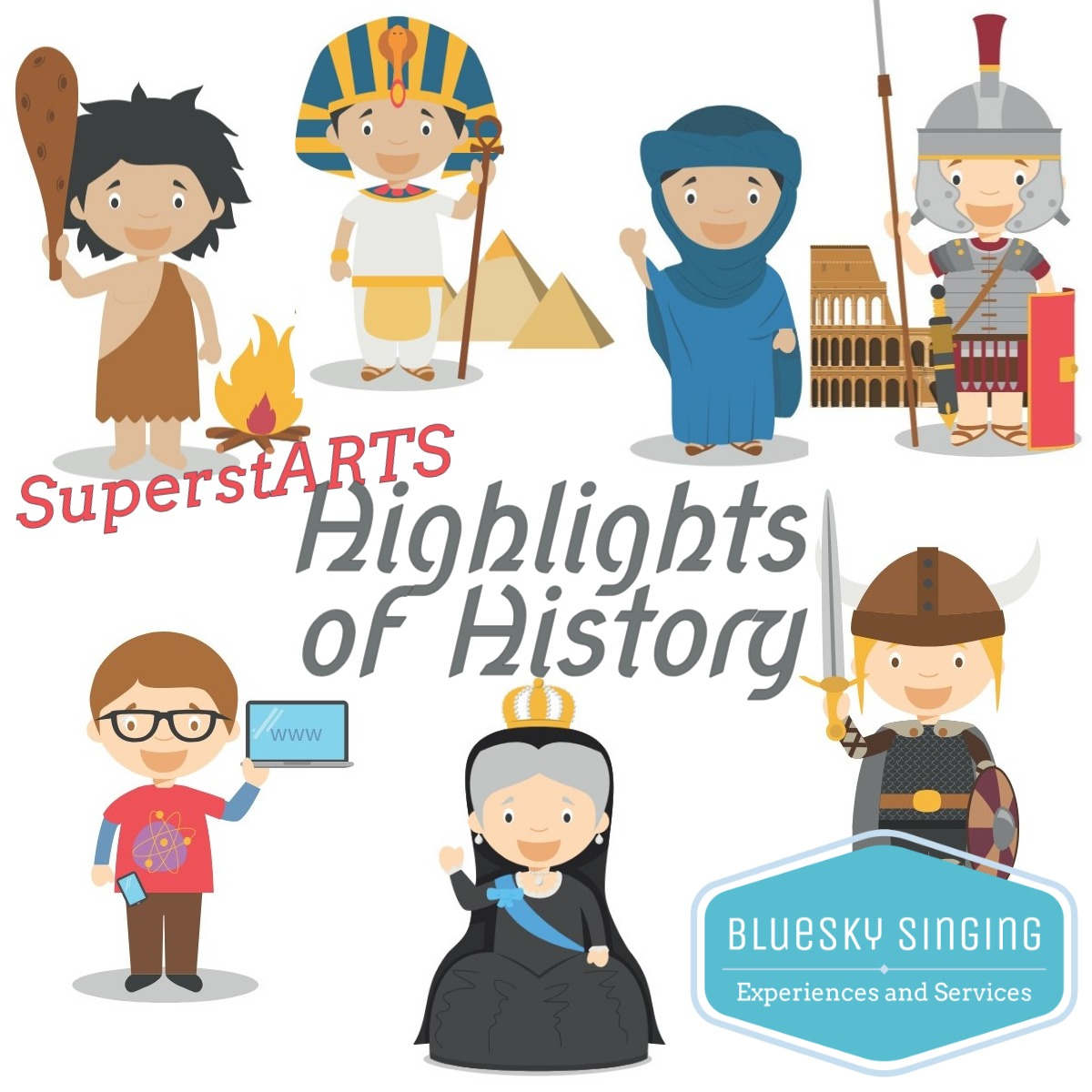 · For Juniors: Highlights of History is our current SuperstARTS topic which will see classes singing and sharing about the Stone Age through to the Victorians. Costumes at the ready! Your KS2 classes will each receive a singing workshop ahead of the Experience date.