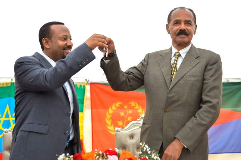 Ethiopian Prime Minister Abiy Ahmed and Eritrean President Isaias Afwerki. Credit: Getty Images