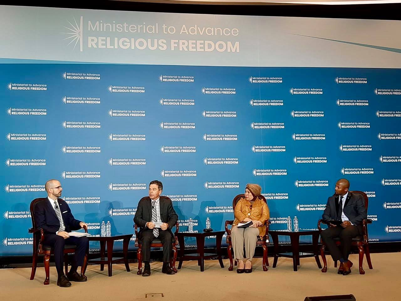 IPPFoRB network parliamentarians David Anderson (also the Chair of the IPPFoRB Steering Committee) from Canada, Lena Maryana Mukti from Indonesia and Nqabayomzi Kwankwa (also the Chair of the AfriPAHR Steering Committee) from South Africa together with Knox Thames, U.S. State Dept Special Advisor for Religious Minorities in a panel at the 2019 US Ministerial.
