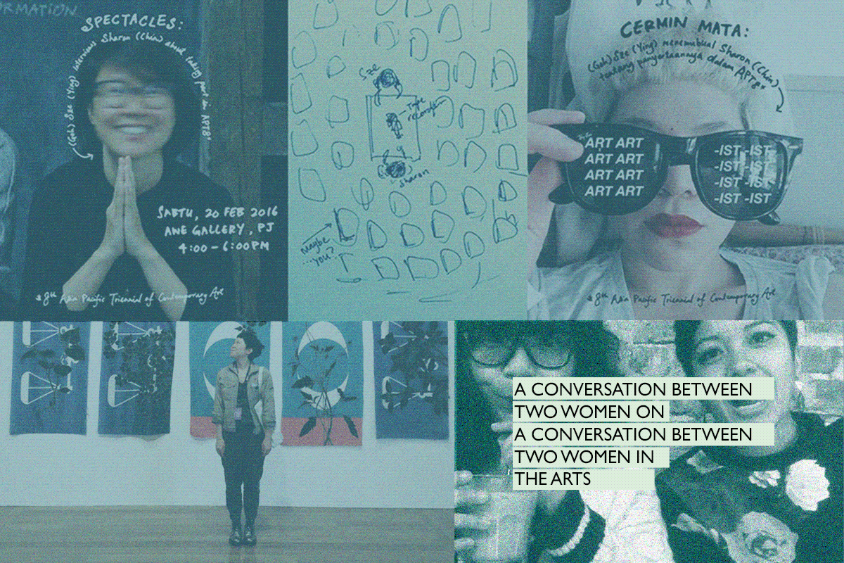 A conversation between Syar and Liy on the conversation between artist Sharon Chin and curator Sze on 20 February 2016.