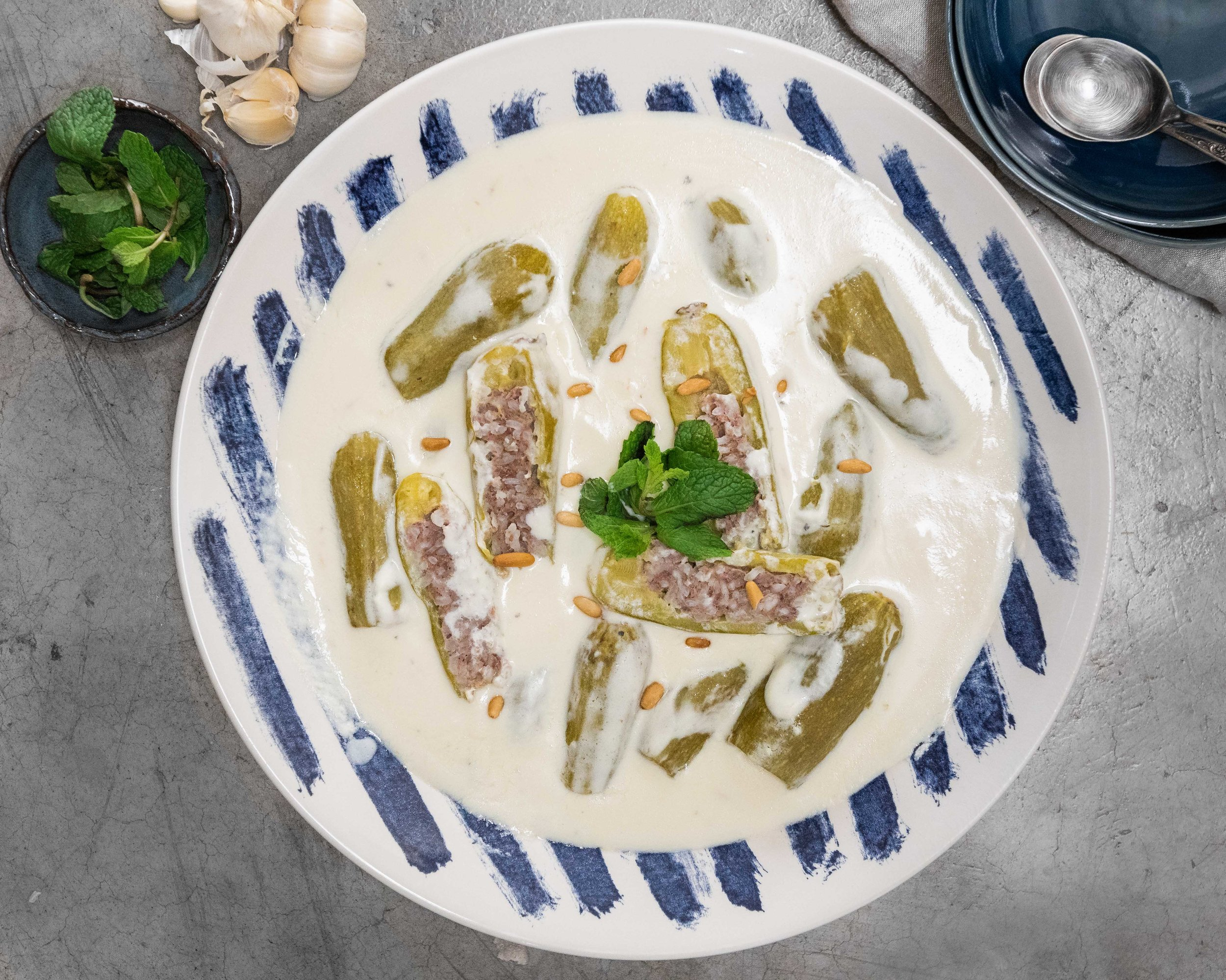 Kousa Bil Laban (Stuffed Squash in Yogurt Sauce)